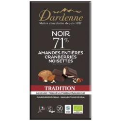 CHOCOLAT NOIR AMANDE CANNEBERGE NOISETTE 180G