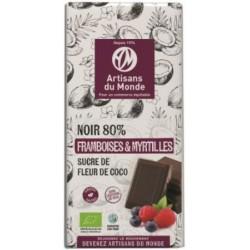 CHOCOLAT NOIR SUCRE COCO FRAMBOISE MYRTILLE 100G