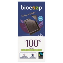 CHOCOLAT NOIR 100% CACAO SANS SUCRE 90GRS