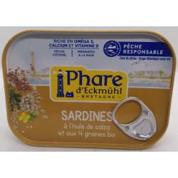 SARDINES HUILE COLZA 4 GRAINES 135G