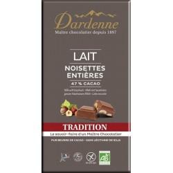 CHOCOLAT LAIT NOISETTE ENTIÈRE 47% 180G