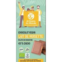 CHOCOLAT VEGETAL NOISETTE NOUGATINE 43% 100G