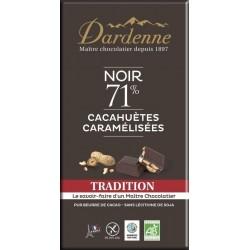 CHOC NOIR 71% CACAHUETE CARAMELISEE 180G