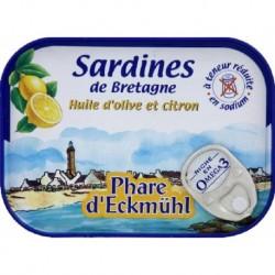 SARDINES À L'HUILE D'OLIVE CITRONNÉE PAUVRE EN SEL 102 GRS