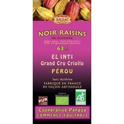 CHOCOLAT NOIR 63% RAISINS DE CORINTHE 100 GRS