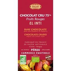CHOCOLAT NOIR 75% CRU MYRTILLES FRAMBOISES 100 GRS